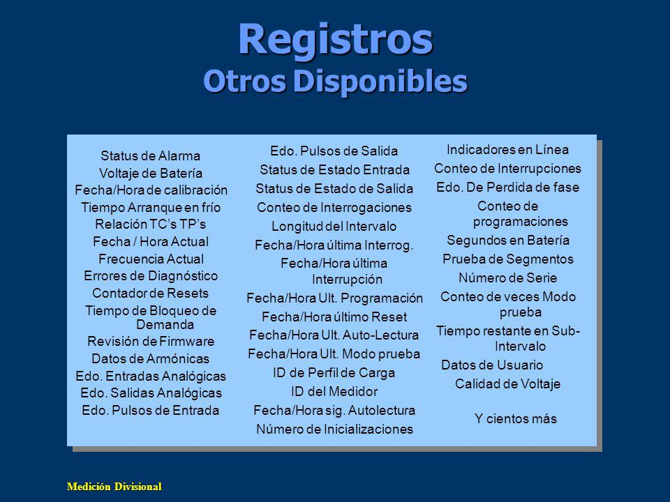 Registros Otros Disponibles