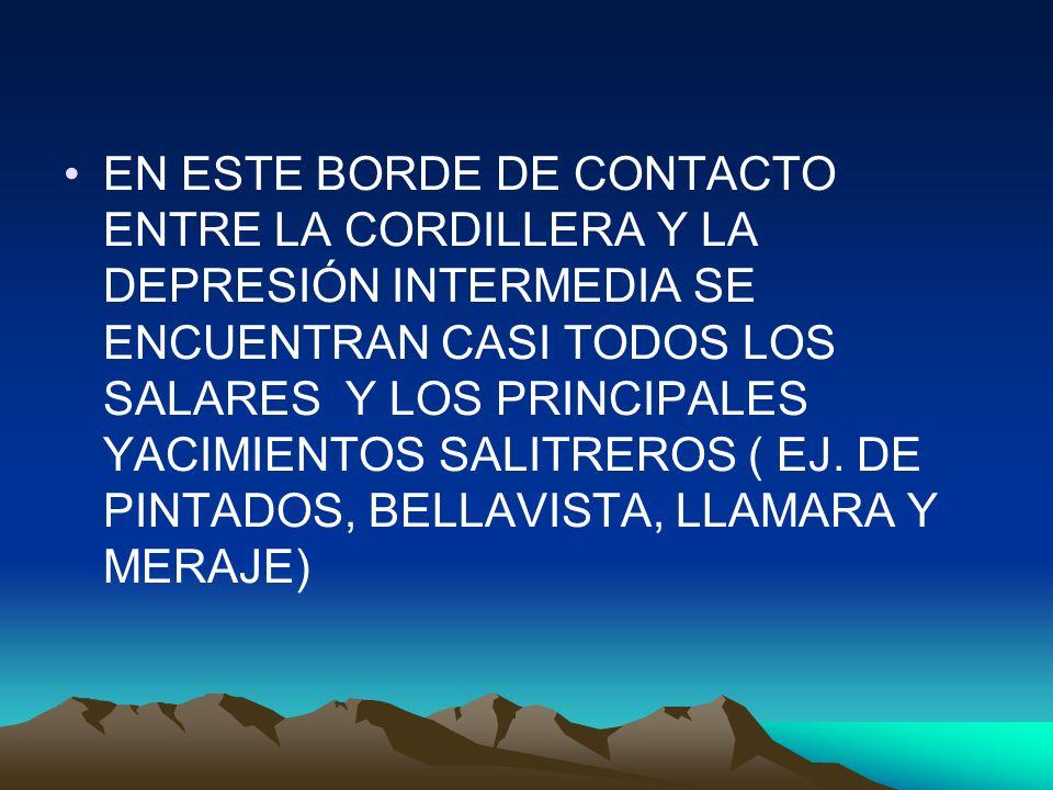 EN ESTE BORDE DE CONTACTO ENTRE LA CORDILLERA Y LA DEPRESIÓN INTERMEDIA SE ENCUENTRAN CASI TODOS LOS SALARES Y LOS PRINCIPALES YACIMIENTOS SALITREROS ( EJ.