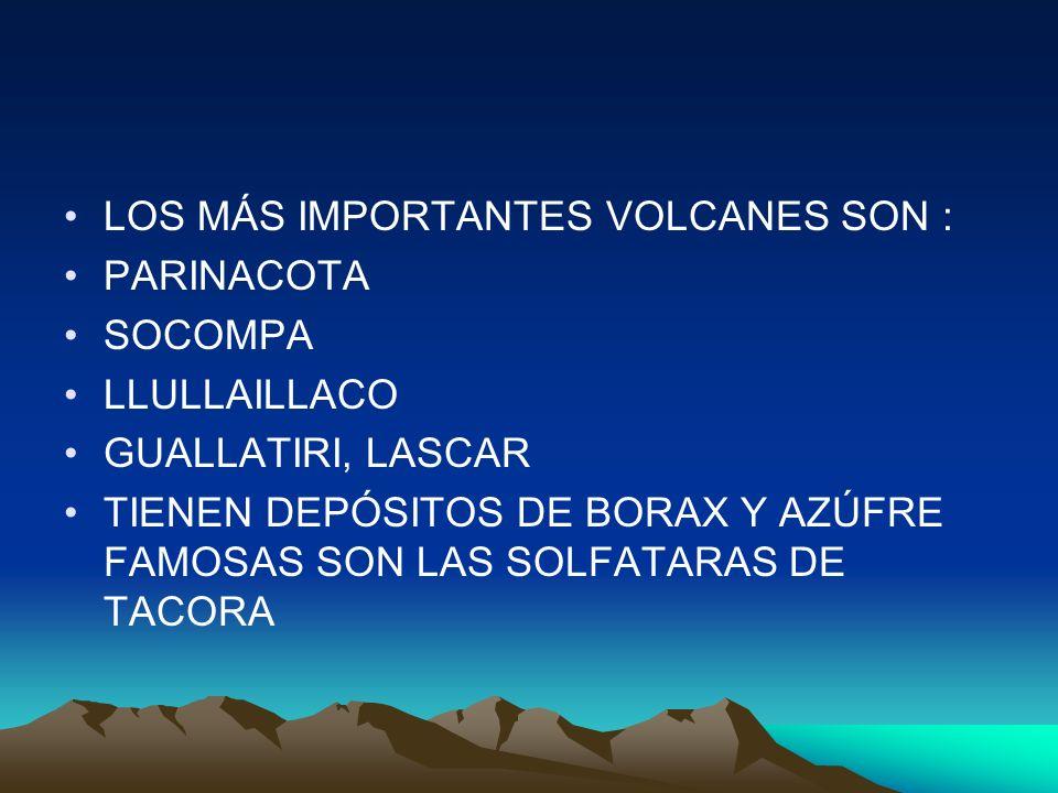 LOS MÁS IMPORTANTES VOLCANES SON :