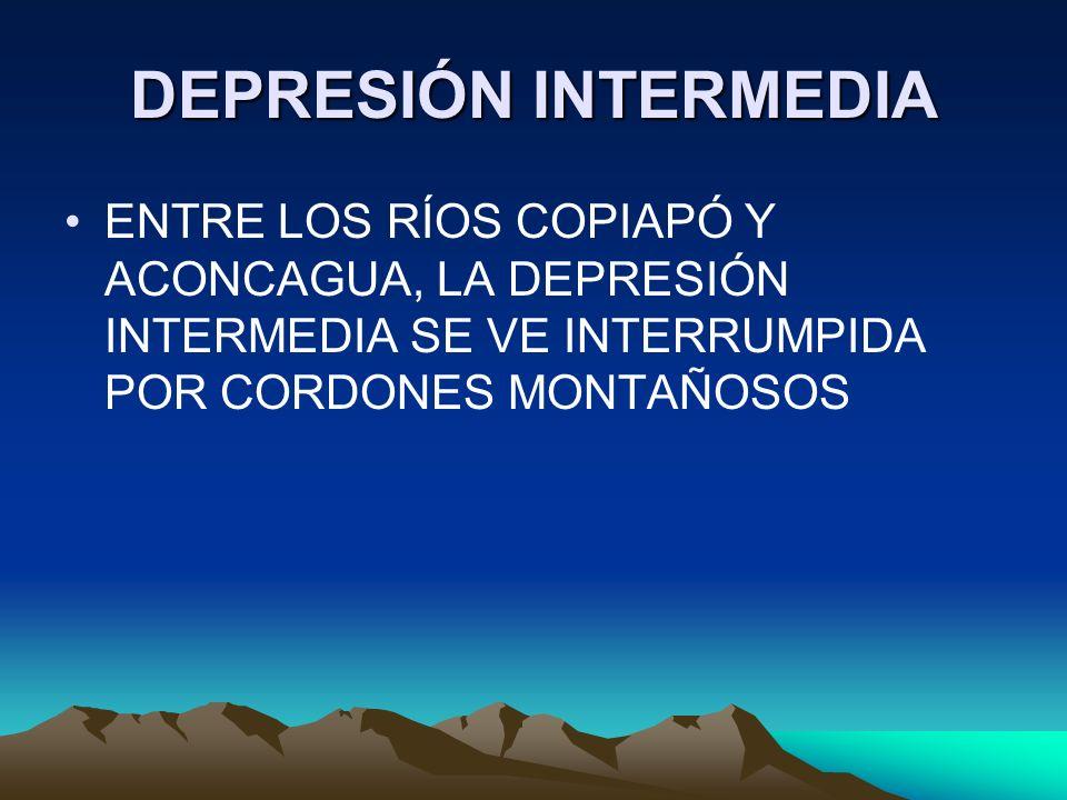 DEPRESIÓN INTERMEDIA ENTRE LOS RÍOS COPIAPÓ Y ACONCAGUA, LA DEPRESIÓN INTERMEDIA SE VE INTERRUMPIDA POR CORDONES MONTAÑOSOS.