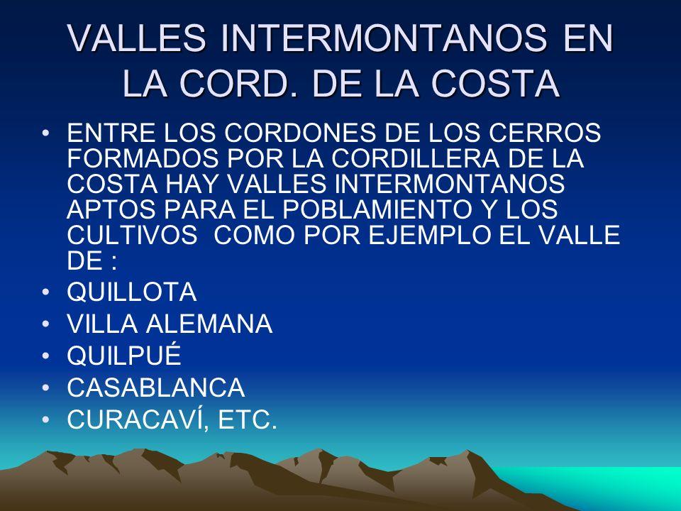 VALLES INTERMONTANOS EN LA CORD. DE LA COSTA