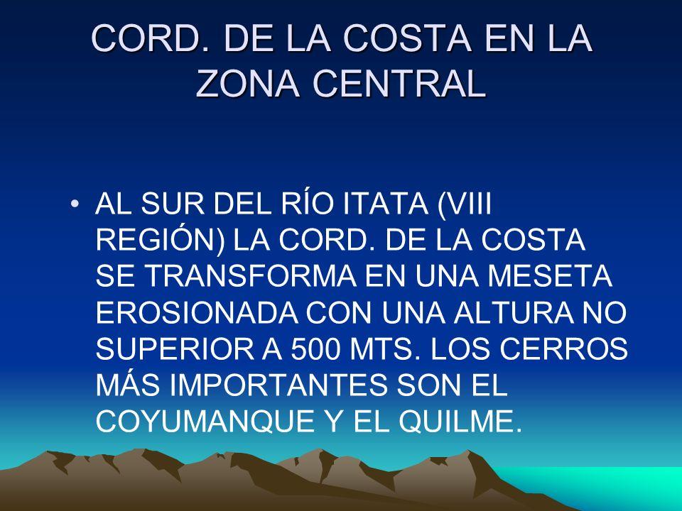 CORD. DE LA COSTA EN LA ZONA CENTRAL