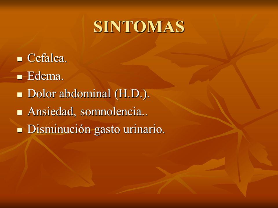 SINTOMAS Cefalea. Edema. Dolor abdominal (H.D.).