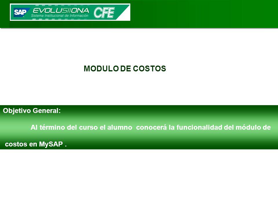 MODULO DE COSTOS Objetivo General: