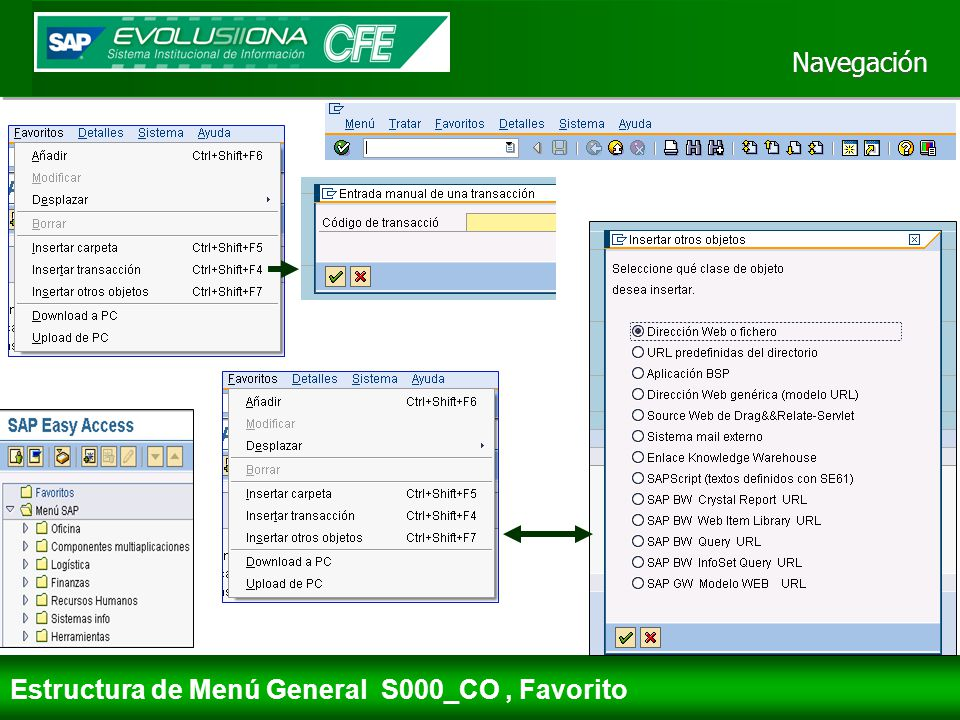 Navegación Estructura de Menú General S000_CO , Favorito