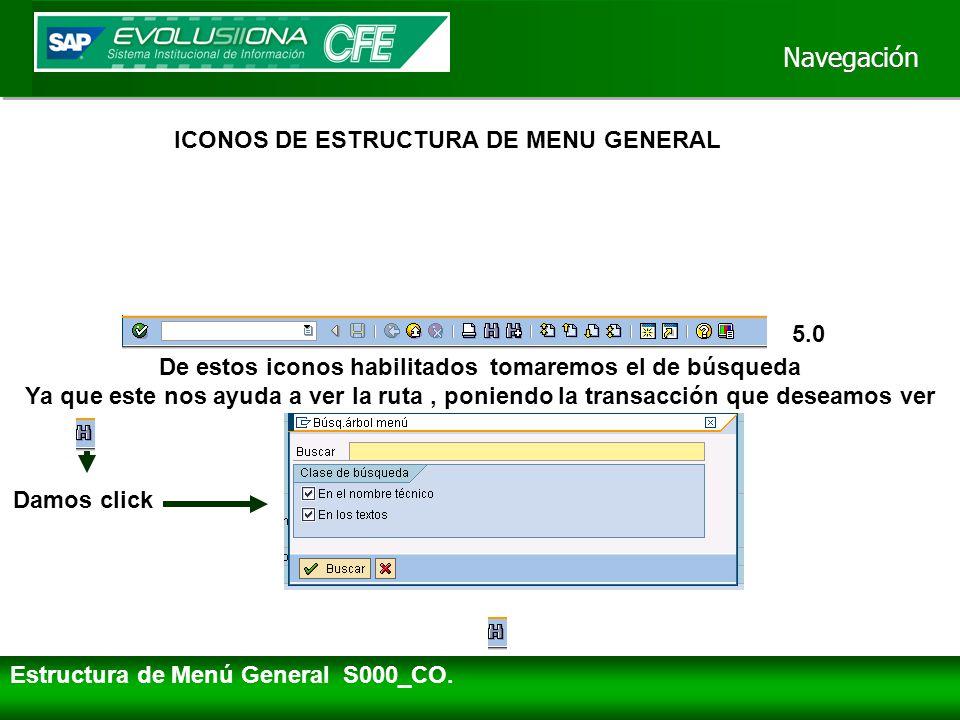 Navegación ICONOS DE ESTRUCTURA DE MENU GENERAL 5.0