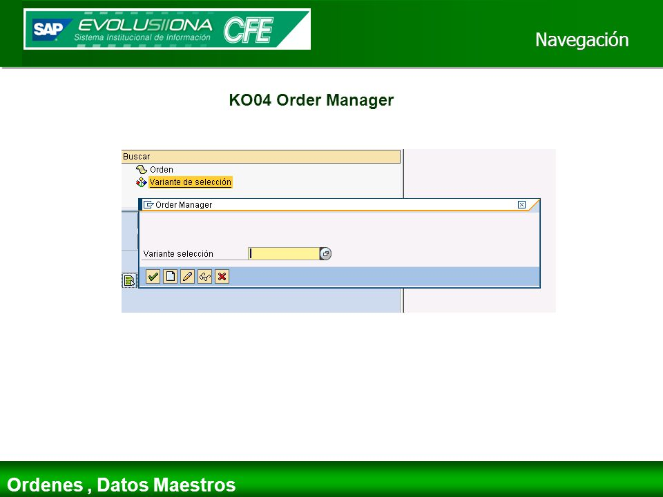 Ordenes , Datos Maestros
