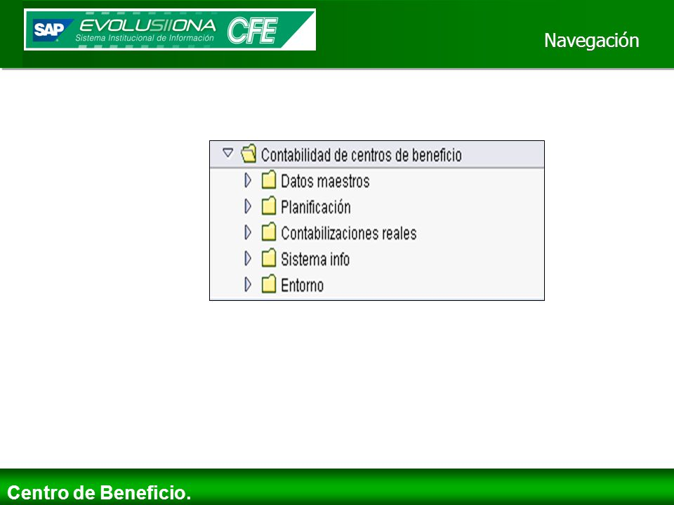 Navegación Centro de Beneficio.