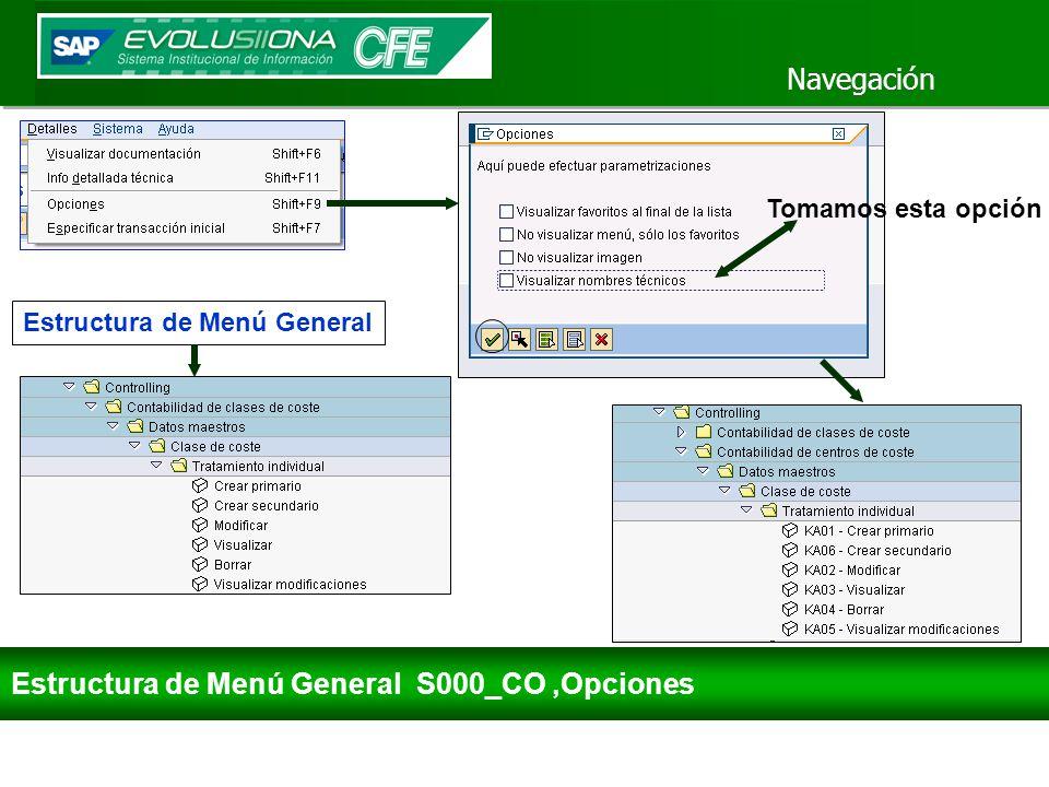 Estructura de Menú General S000_CO ,Opciones