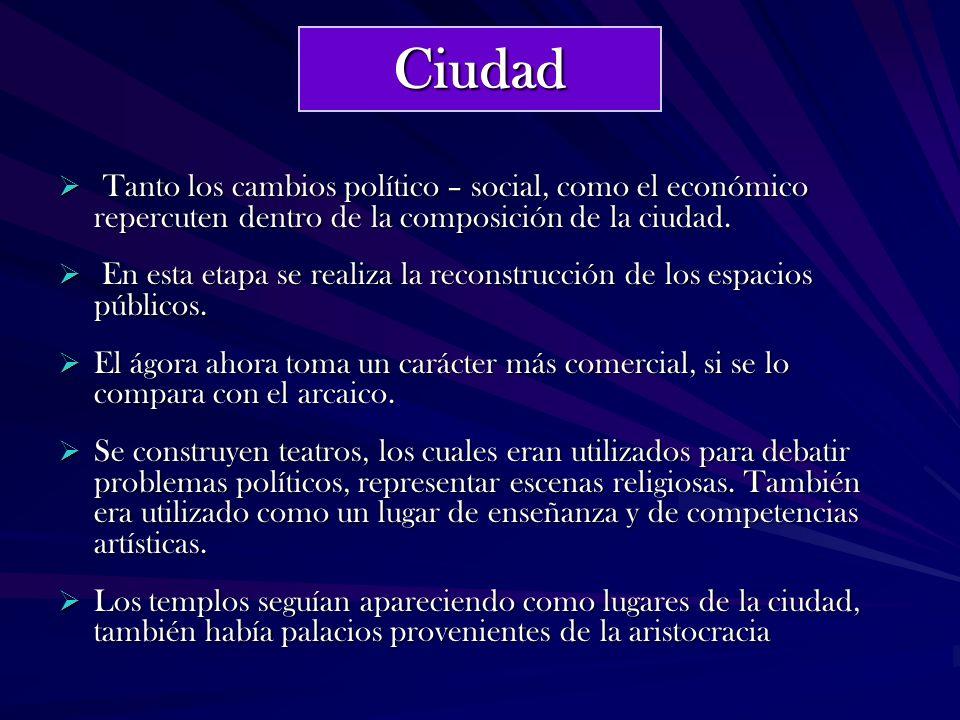 Ciudad Tanto los cambios político – social, como el económico repercuten dentro de la composición de la ciudad.