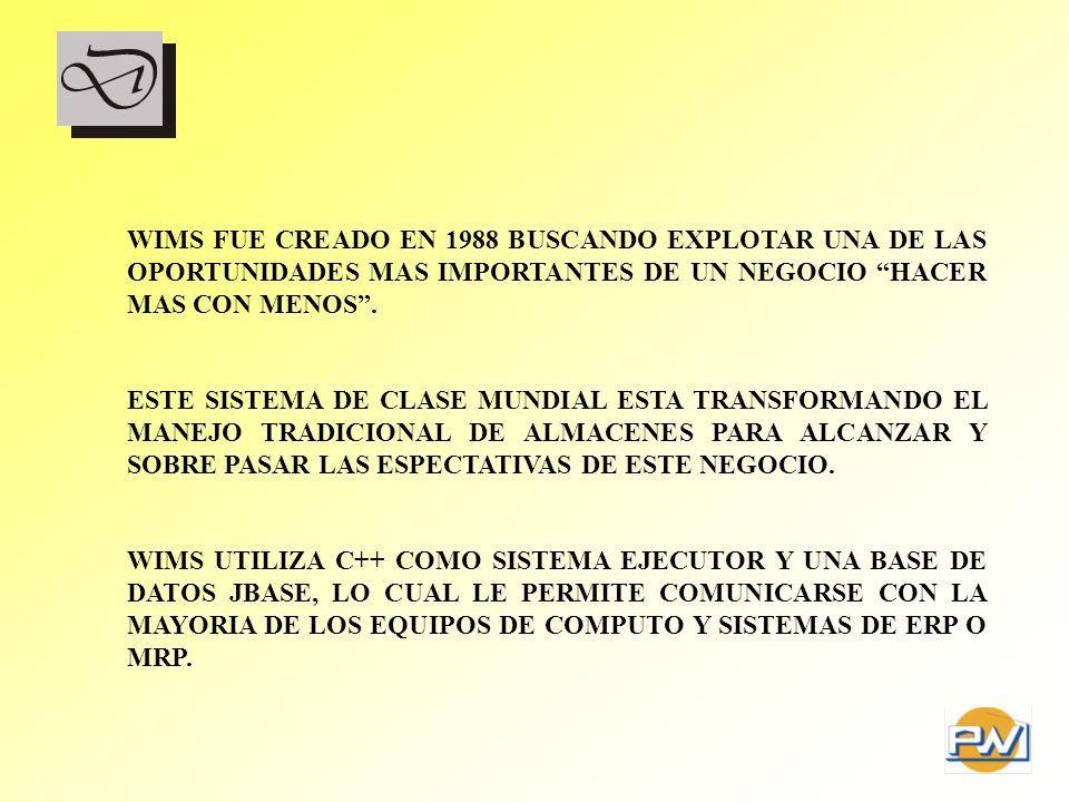 WIMS FUE CREADO EN 1988 BUSCANDO EXPLOTAR UNA DE LAS OPORTUNIDADES MAS IMPORTANTES DE UN NEGOCIO HACER MAS CON MENOS .