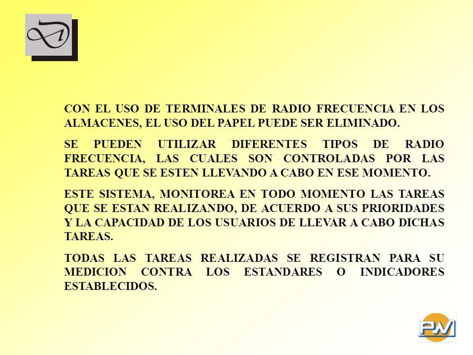 CON EL USO DE TERMINALES DE RADIO FRECUENCIA EN LOS ALMACENES, EL USO DEL PAPEL PUEDE SER ELIMINADO.