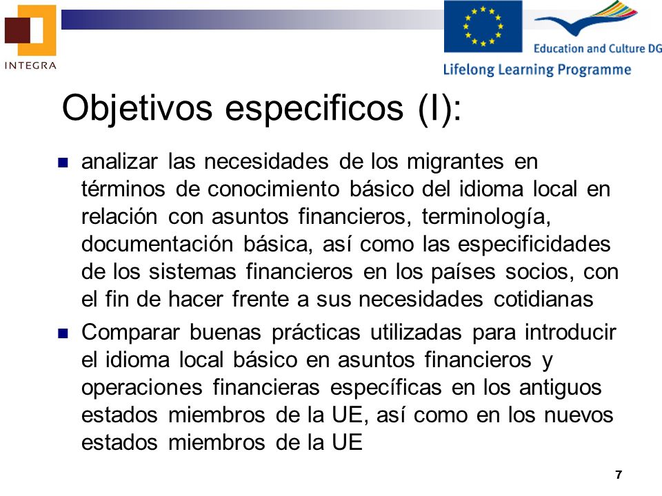 Objetivos especificos (I):