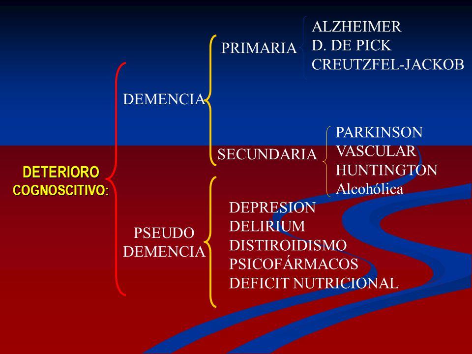 ALZHEIMER D. DE PICK CREUTZFEL-JACKOB PRIMARIA DEMENCIA PARKINSON