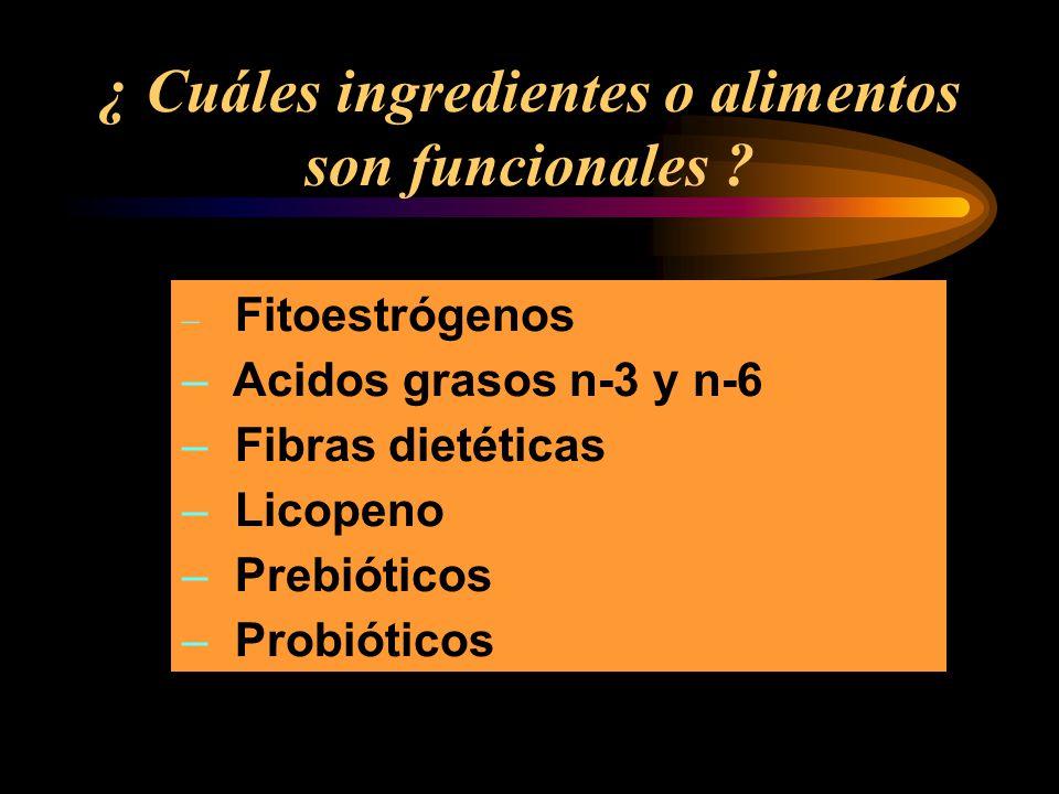 ¿ Cuáles ingredientes o alimentos son funcionales
