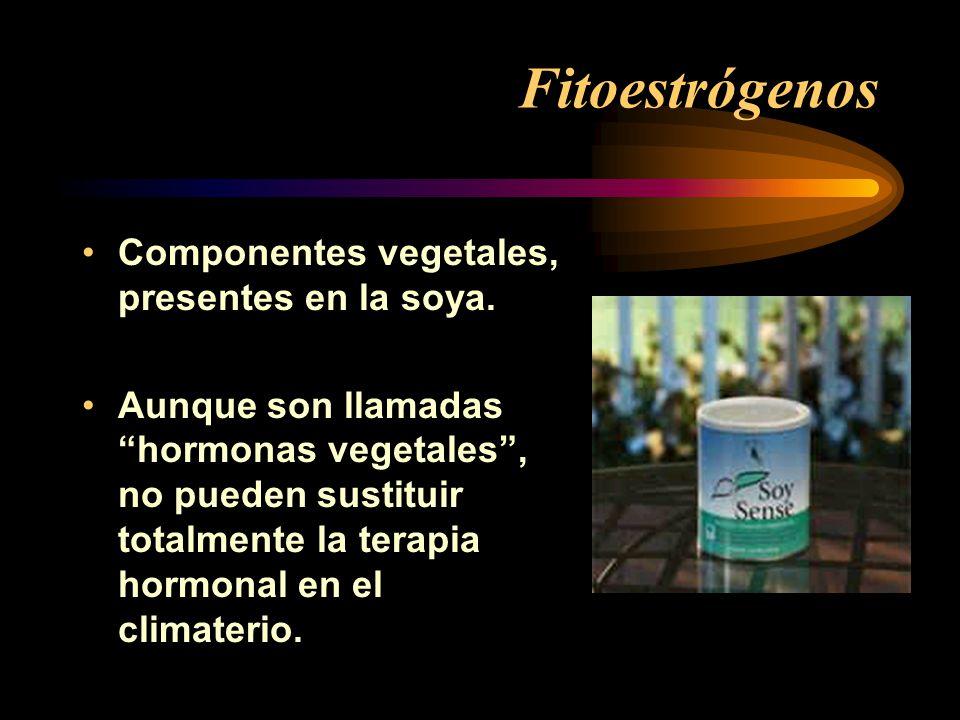 Fitoestrógenos Componentes vegetales, presentes en la soya.