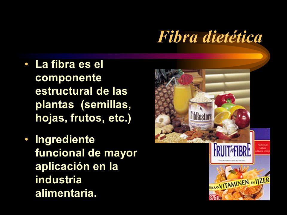 Fibra dietética La fibra es el componente estructural de las plantas (semillas, hojas, frutos, etc.)