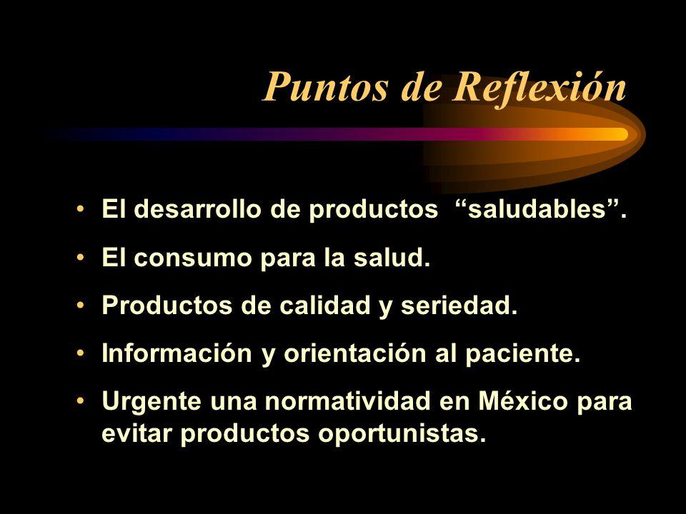 Puntos de Reflexión El desarrollo de productos saludables .