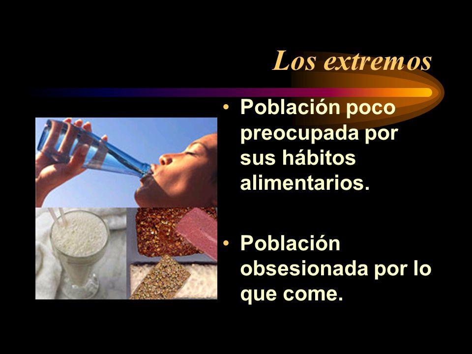 Los extremos Población poco preocupada por sus hábitos alimentarios.