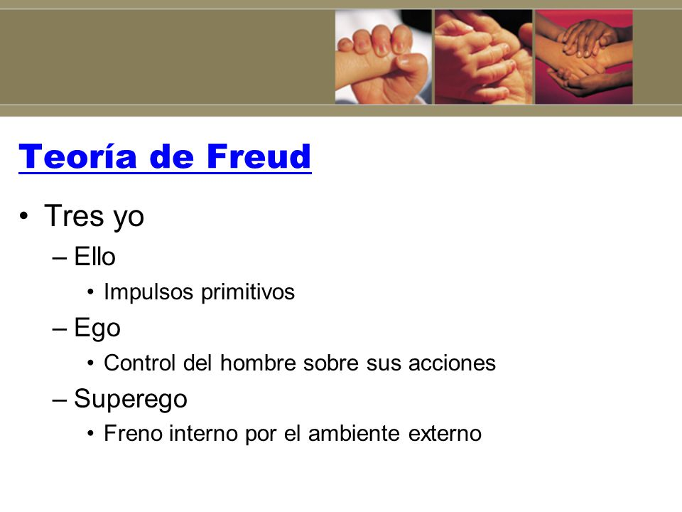 Teoría de Freud Tres yo Ello Ego Superego Impulsos primitivos