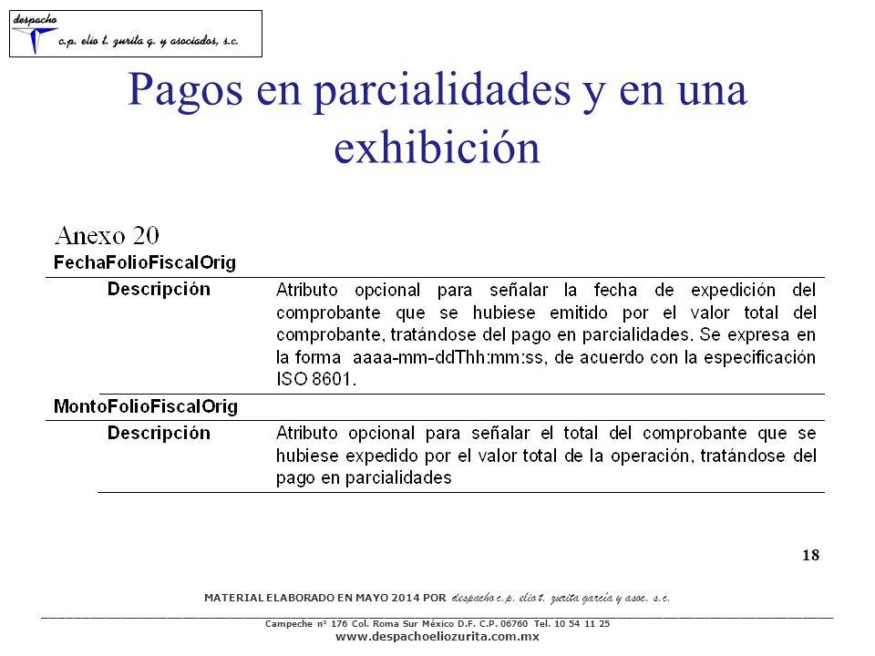 Pagos en parcialidades y en una exhibición