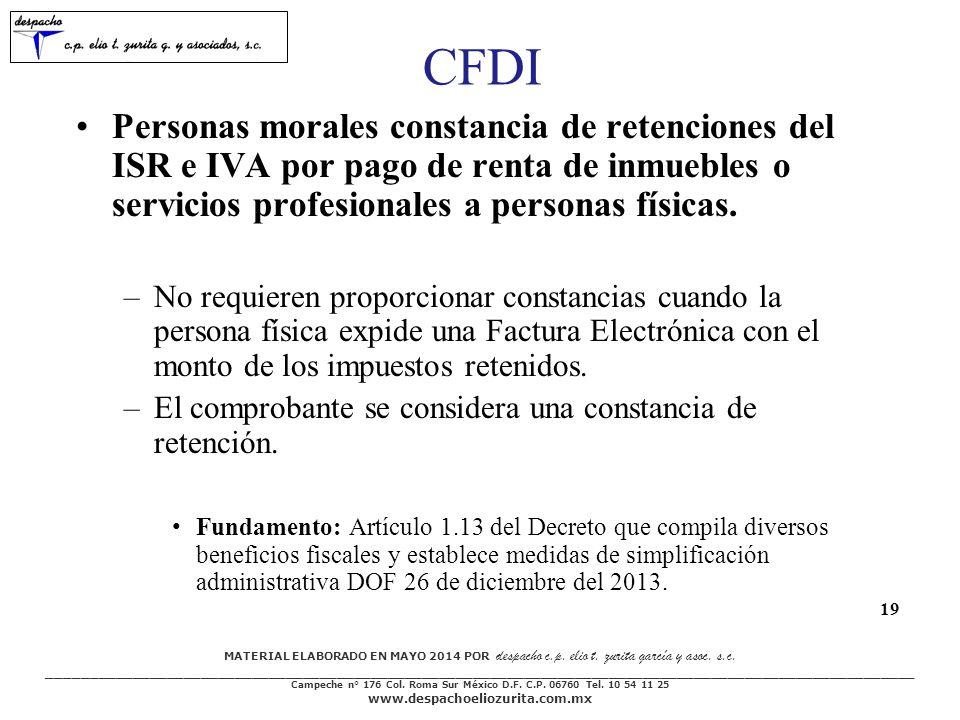 CFDI Personas morales constancia de retenciones del ISR e IVA por pago de renta de inmuebles o servicios profesionales a personas físicas.
