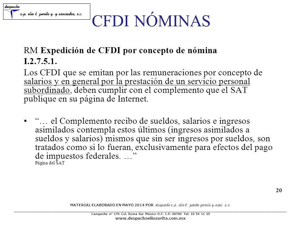 CFDI NÓMINAS RM Expedición de CFDI por concepto de nómina I.2.7.5.1.