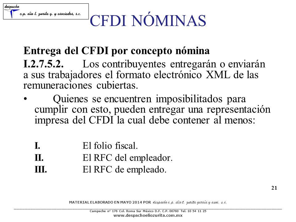 CFDI NÓMINAS Entrega del CFDI por concepto nómina