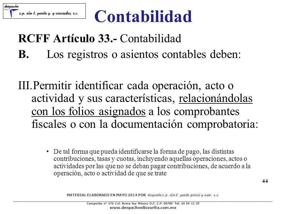 Contabilidad RCFF Artículo 33.- Contabilidad