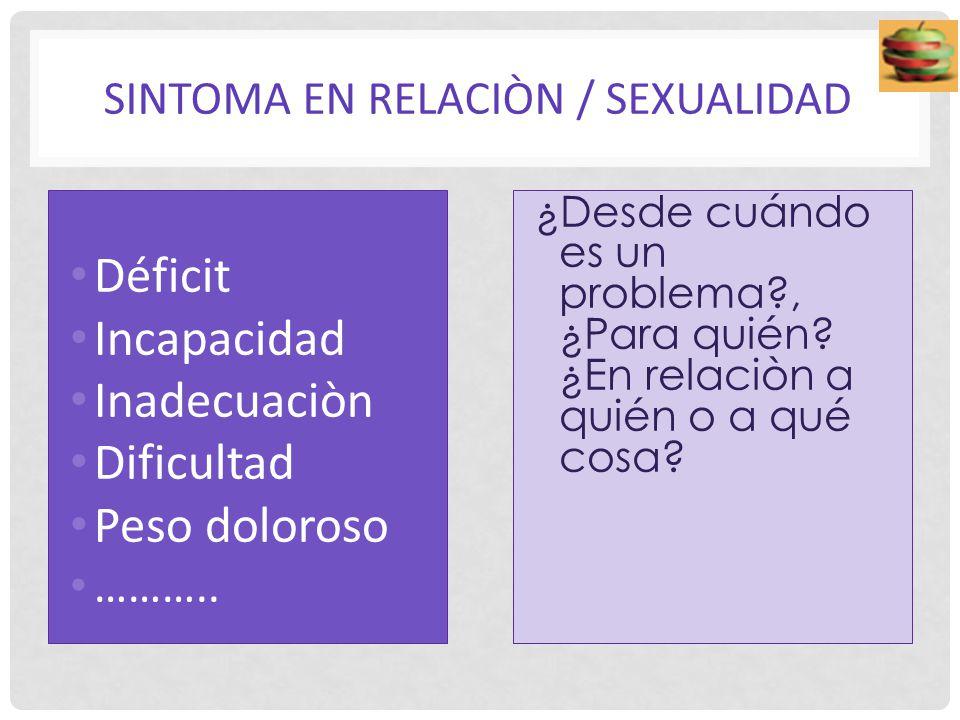 SINTOMA EN RELACIÒN / SEXUALIDAD