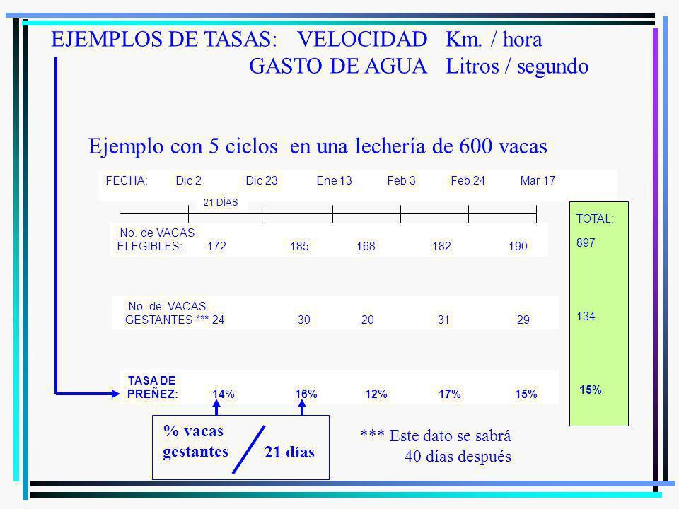 EJEMPLOS DE TASAS: VELOCIDAD Km. / hora GASTO DE AGUA Litros / segundo