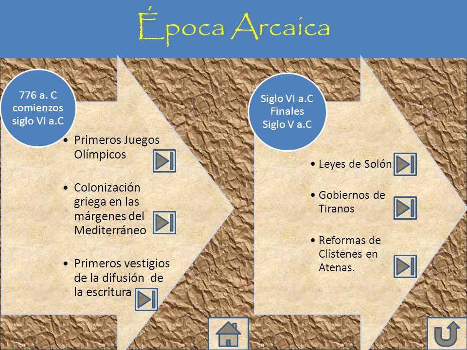 Época Arcaica 776 a. C comienzos siglo VI a.C
