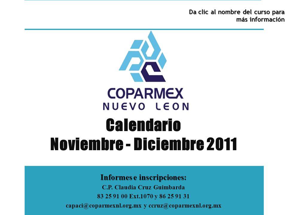 Calendario Noviembre - Diciembre 2011