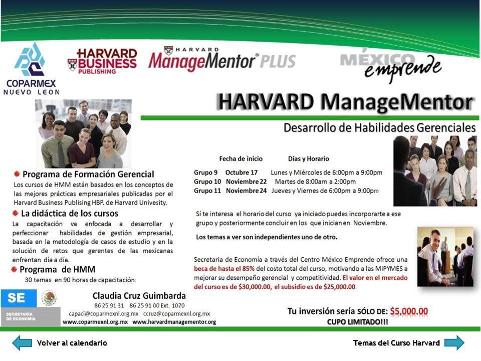 Volver al calendario Temas del Curso Harvard