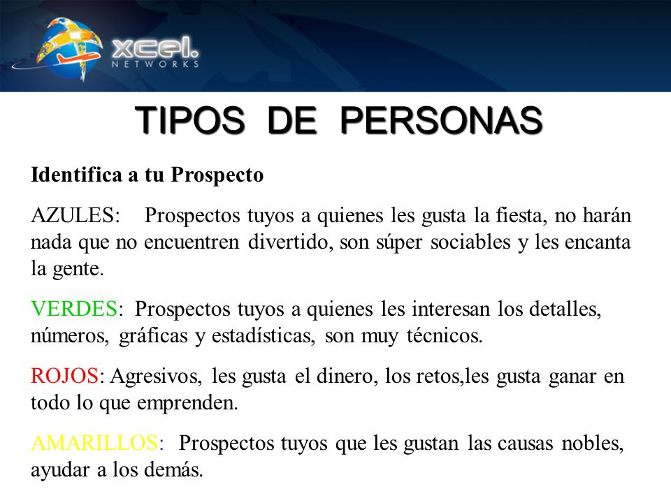 TIPOS DE PERSONAS Identifica a tu Prospecto