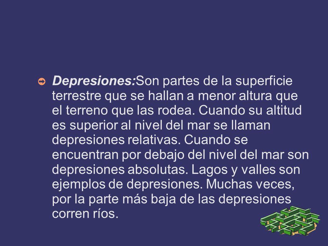 Depresiones:Son partes de la superficie terrestre que se hallan a menor altura que el terreno que las rodea.