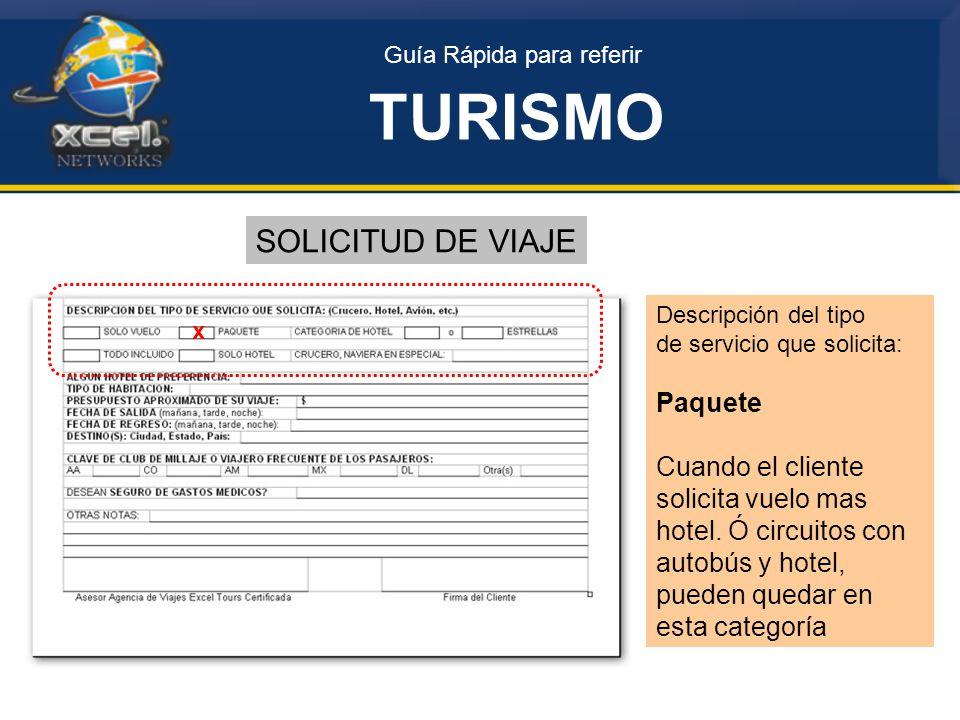 TURISMO SOLICITUD DE VIAJE Paquete