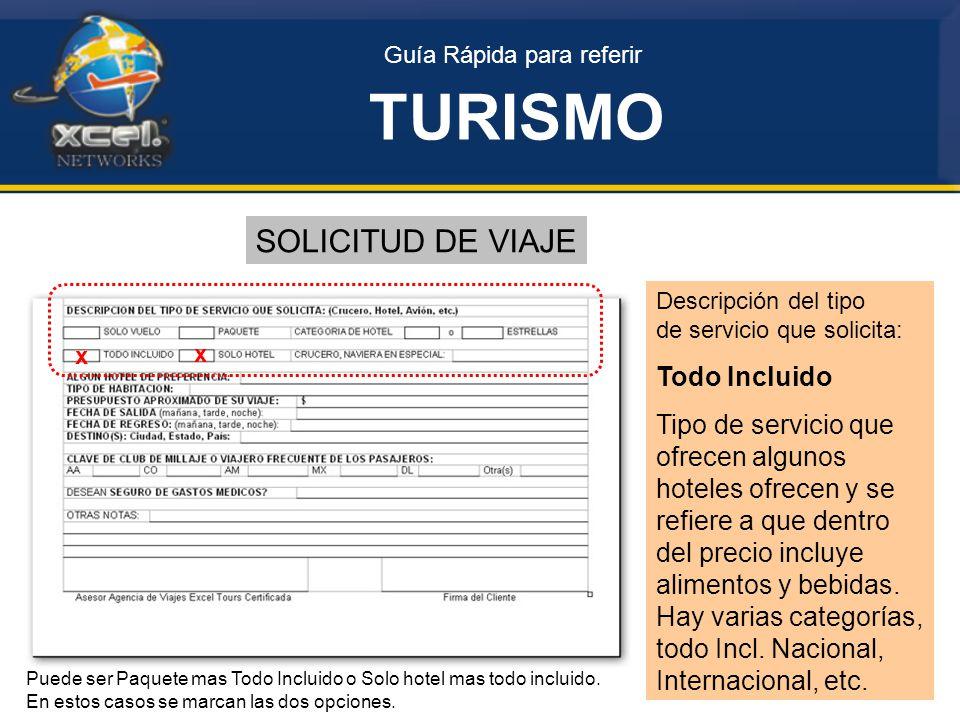 TURISMO SOLICITUD DE VIAJE Todo Incluido