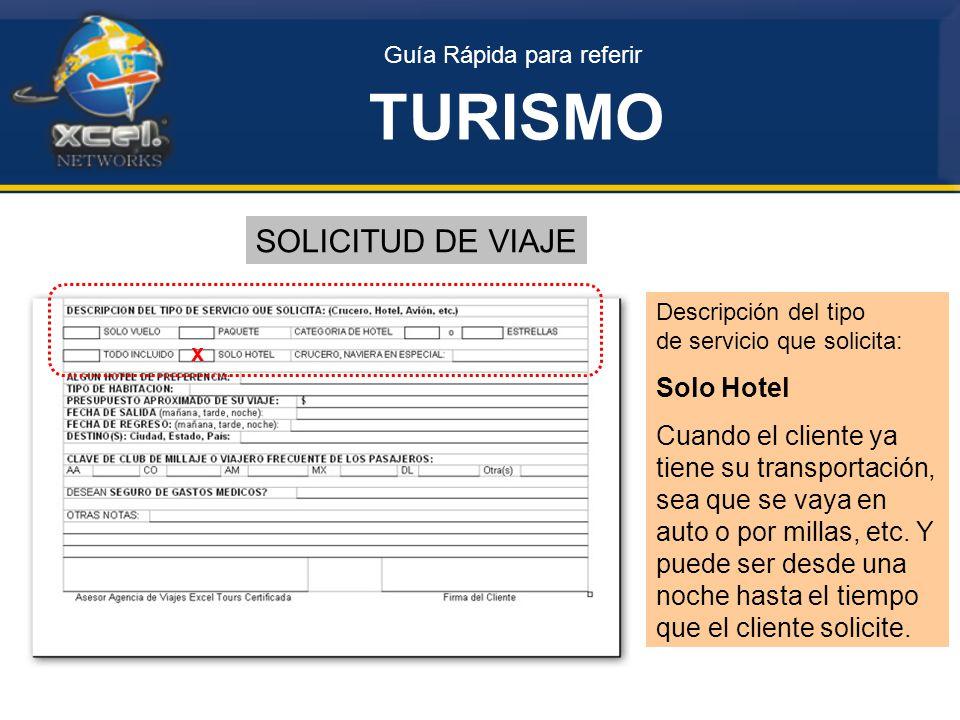 TURISMO SOLICITUD DE VIAJE Solo Hotel