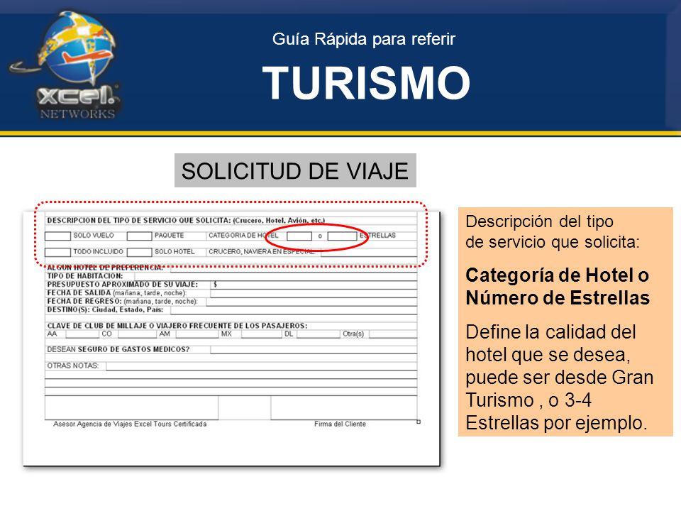 TURISMO SOLICITUD DE VIAJE Categoría de Hotel o Número de Estrellas