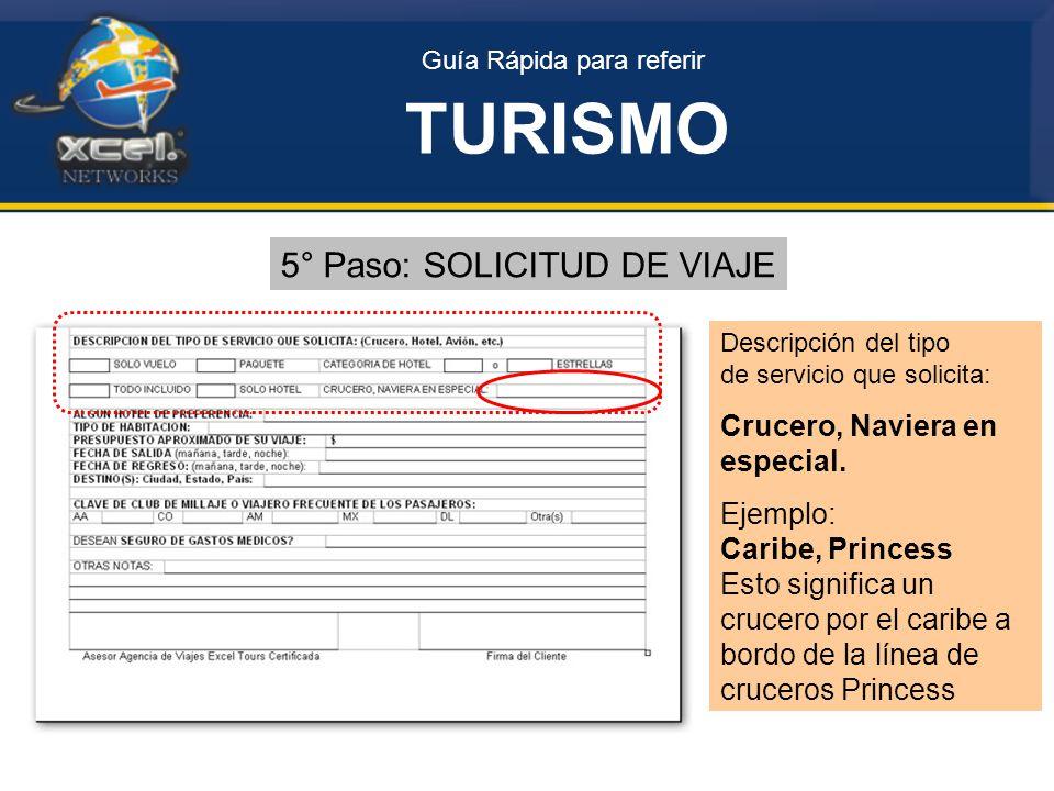 TURISMO 5° Paso: SOLICITUD DE VIAJE Crucero, Naviera en especial.