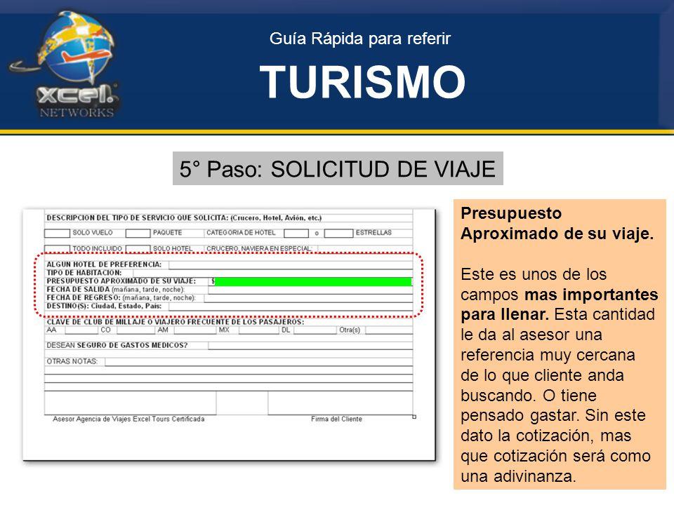 TURISMO 5° Paso: SOLICITUD DE VIAJE Guía Rápida para referir