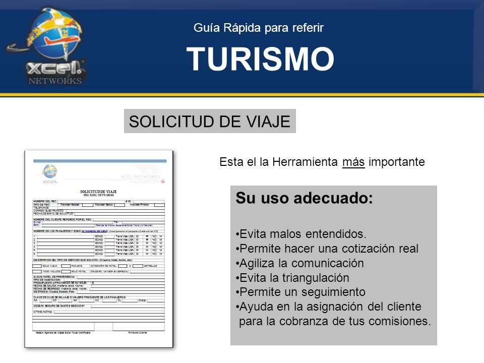 TURISMO SOLICITUD DE VIAJE Su uso adecuado: Guía Rápida para referir
