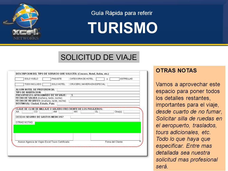TURISMO SOLICITUD DE VIAJE Guía Rápida para referir OTRAS NOTAS