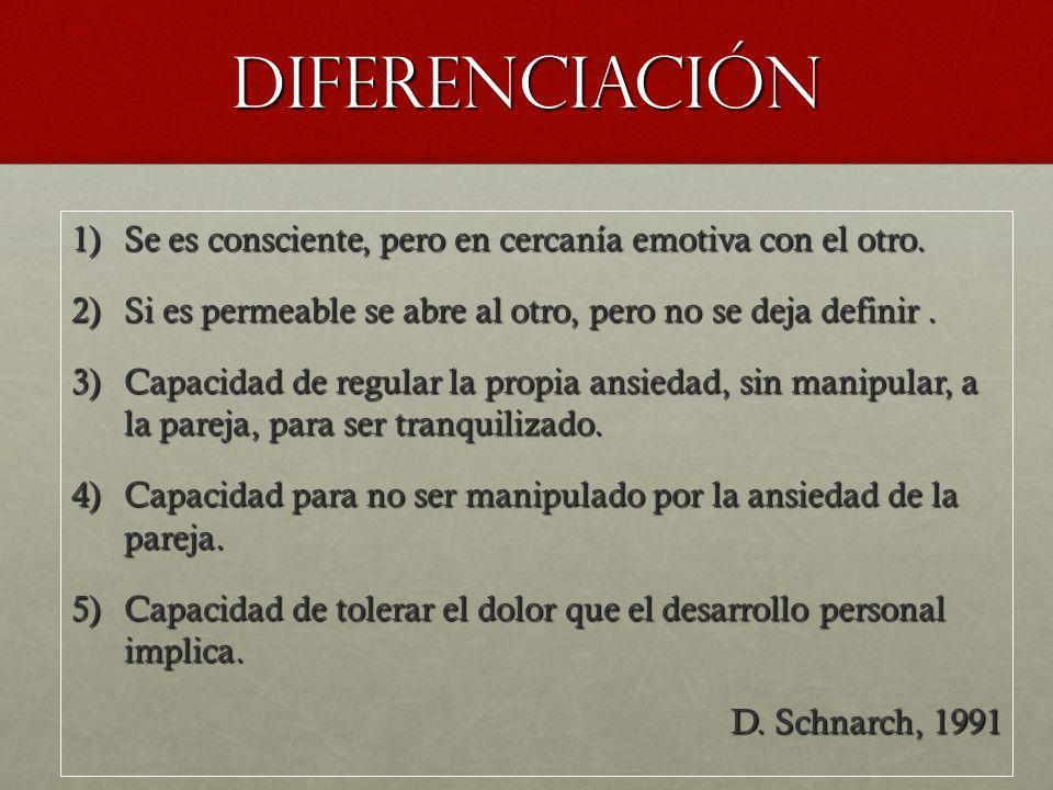 DIFERENCIACIÓN Se es consciente, pero en cercanía emotiva con el otro.
