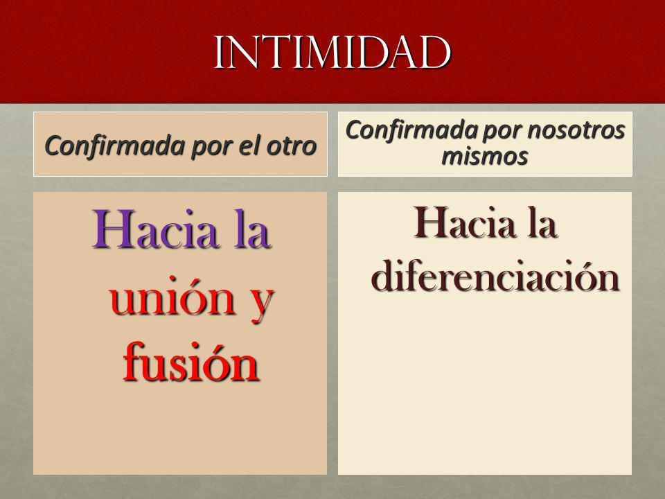 Hacia la unión y fusión INTIMIDAD Hacia la diferenciación