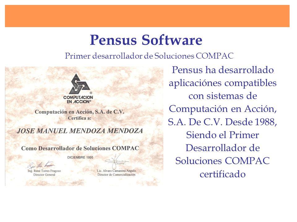 Pensus Software Primer desarrollador de Soluciones COMPAC.