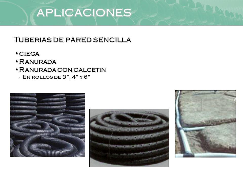 aplicaciones Tuberias de pared sencilla ciega Ranurada