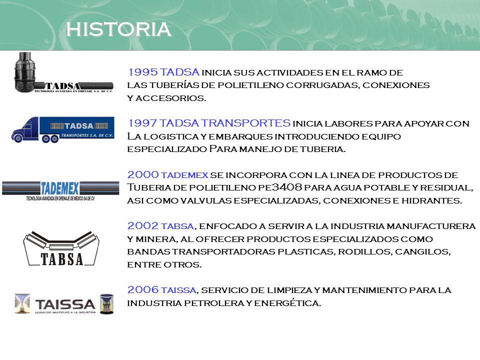 historia 1995 TADSA inicia sus actividades en el ramo de
