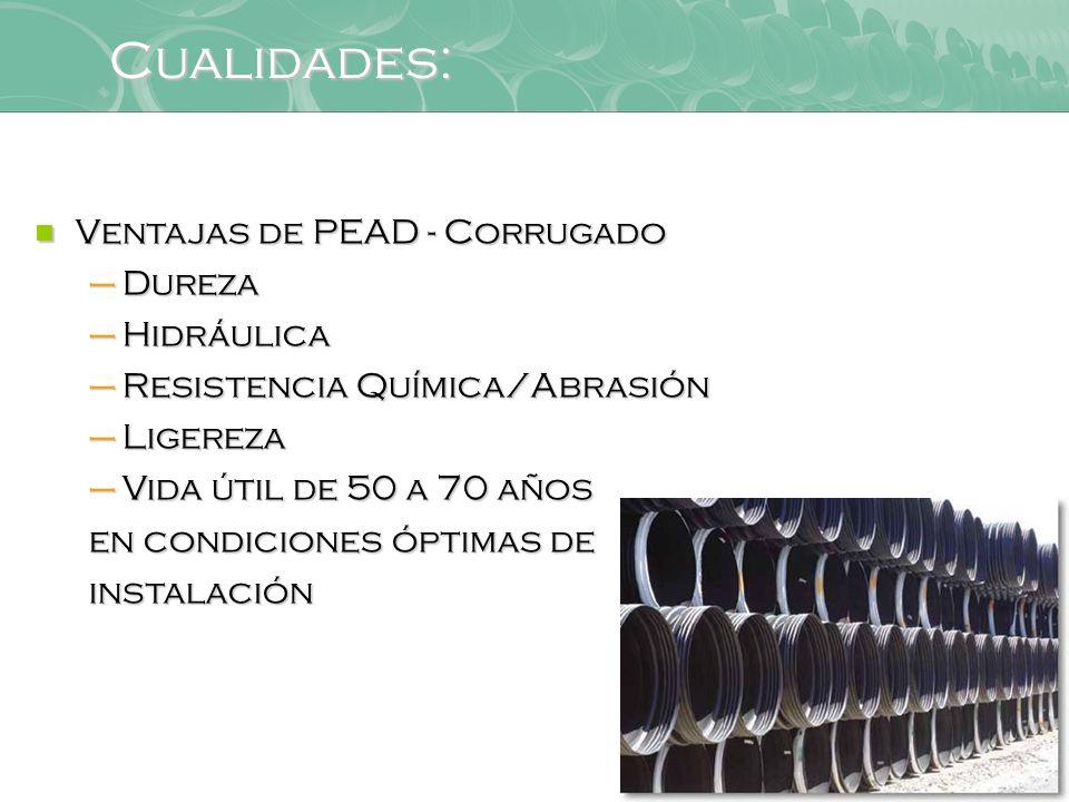 Cualidades: Ventajas de PEAD - Corrugado Dureza Hidráulica